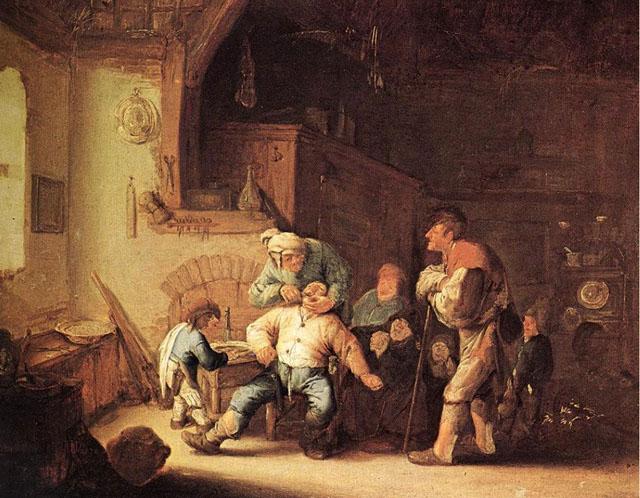 Адріан ван Остаде. Сільській цирульник, що видаляє зуб. 1637 р.