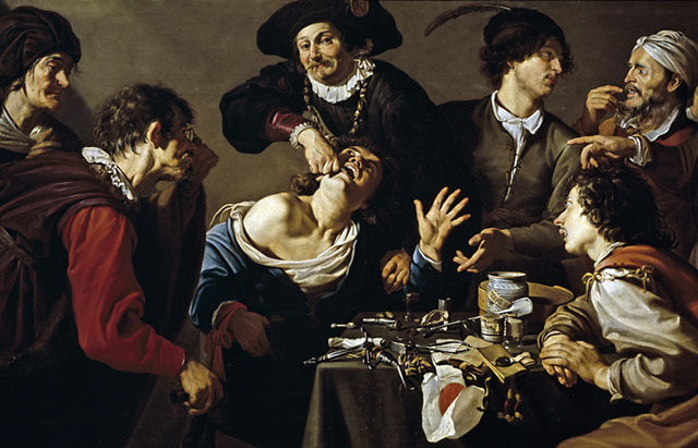 Фрагмент картини Теодора Ромбоутса 'Видалення зуба', XVII ст.