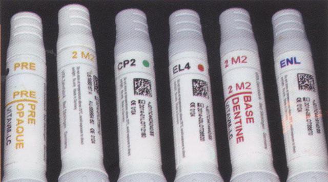 Мал. 11. Маси VITA VM LC, які були використані для облицювання телескопічної реставрації; за кольором вони відповідні штучним зубам