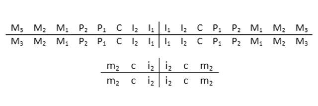 Формула запису постійних (вгорі) і молочних (внизу)зубів за буквено-цифровою системою